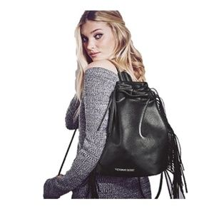New Victoria's Secret Black Fringe Backpack 2015